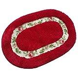 Cheap DeMissir Oval Rug Super Soft Floral Design Rural Style Pretty Rose Pattern Non Slip Absorbent Shaggy Area Rug Carpet Doormat Floormat Bath Mat (15.75×23.62 Inch) (Red)