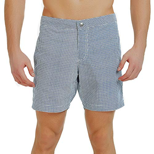 YalayMceeg Mens Swim Trunks Quick Dry Swimming Shorts with Zipper Pockets Full Mesh Liner Design Casual Shorts (Blue Check, 34)