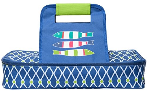 C.R. Gibson Beach House and Nautical Décor Fish Themed Insulated Food and Casserole Dish Carrier, 14