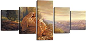 """Yatsen Bridge Jesus Wall Art Picture Decor 5 Panel Vintage Christian Faith Canvas Prints Poster Jesus Thorn Painting for Living Room Home Decoration Stretched Ready to Hang (50""""Wx24""""H)"""