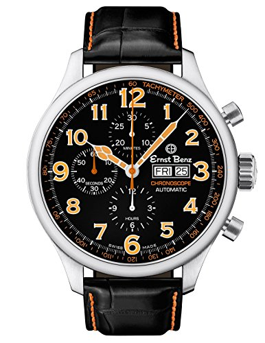 Ernst Benz GC10116 Mens Black/Orange Automatic Watch 47mm Chronograph Classic Alligator Strap Chronograph Orange Alligator