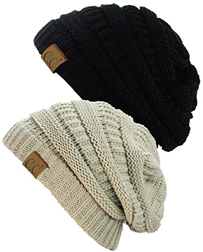 (C.C Trendy Warm Chunky Soft Stretch Cable Knit Beanie Skully, 2 Pack Black/Beige)
