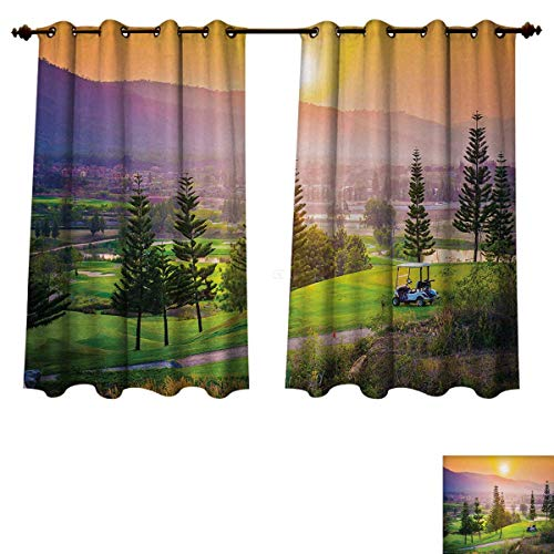 Anzhouqux Nature Blackout Thermal Curtain Panel Golf Resort Park in Spring Season with Trees Sunset Hills and Valley End of The Day Patterned Drape for Glass Door Multicolor W55 x - Parka Golf