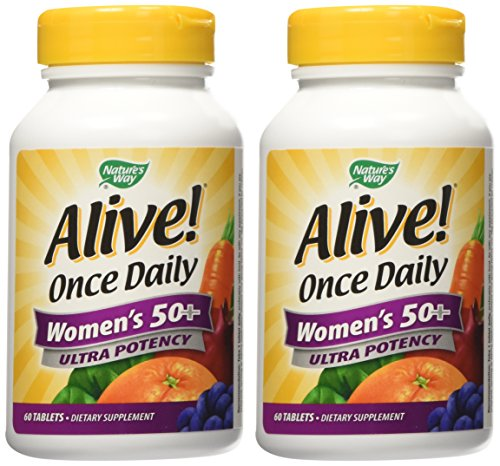 (Nature's Way Alive! Once Daily Women's 50+ Multivitamin, Ultra Potency, Food-Based Blends (230mg per Serving), 60 Tablets (120 Tablets))