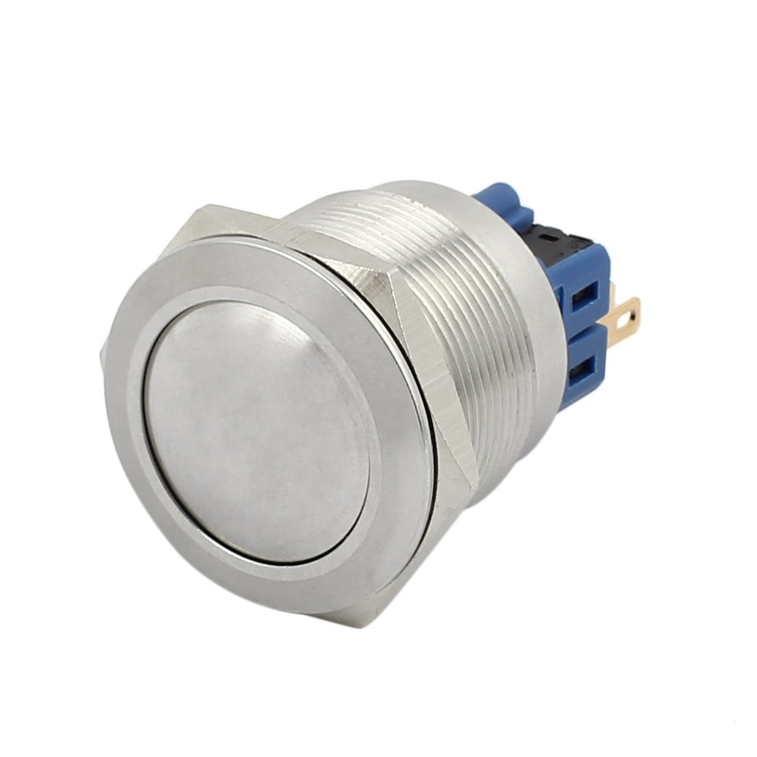 uxcell Press Switch 22mm 0.87' Mounting Thread Flat Round 1NO 1NC DPST Momentary Stainless Steel Metal Waterproof Push Button Switch UL Recognized a17021400ux1066
