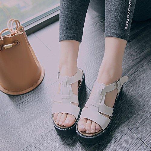 Mee Shoes Damen bequem Schnalle Durchgängiges Plateau Sandalen Weiß