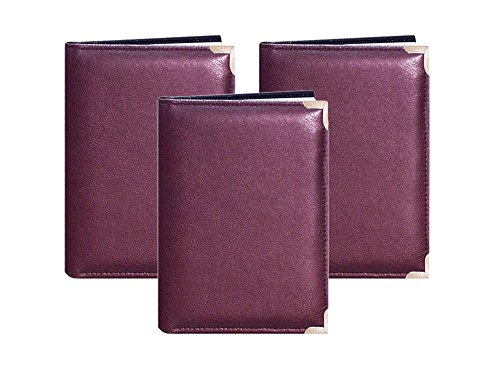 Set of 3 Pioneer Mini Oxford Solid Color Sewn Leatherette Covers with Brass Accent Corners Bound Photo Album, Holds 24 5x7 Photos, 1 Per Page, Assorted Colors Bundled by Maven Gifts