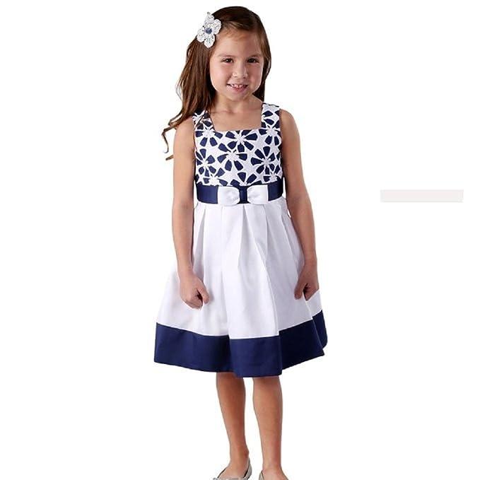 Jona Michelle - Vestido - trapecio - para niña multicolor Azul Marino Y Blanco 24