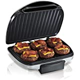 """Hamilton Beach (25371) Electric Indoor Grill with Non Stick Plates, 90"""" Cooking Surface, Silver"""