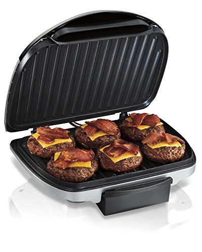Hamilton Beach (25371) Electric Indoor Grill with Non Stick Plates, 90 Cooking Surface, Silver