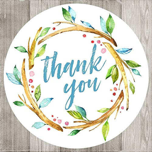 Wedding Invitation Leaves Fall (Blue Wreath Thank You Stickers - Nature Leaf Watercolor Envelope Seal Party Favor Labels - Set of 30)