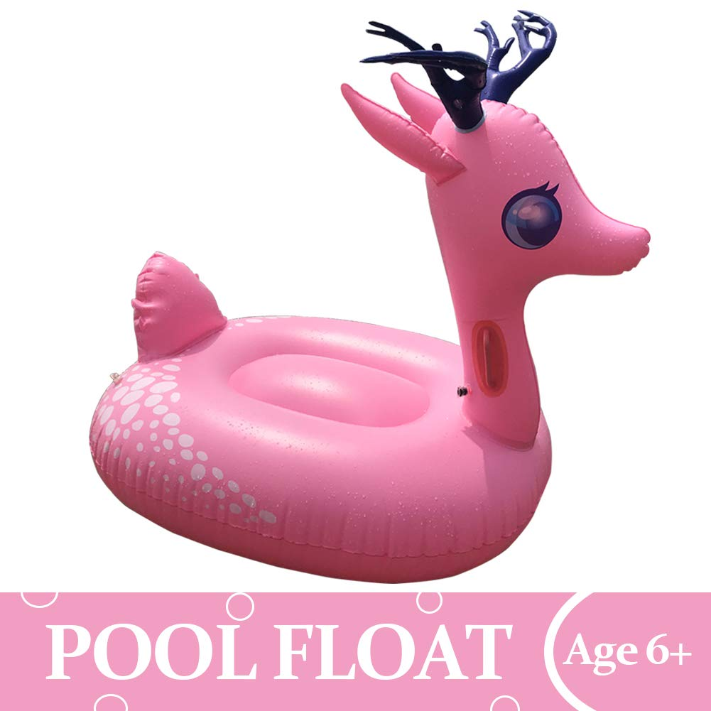 TRSCIND Inflatable Pool Float Ride-On Pool Floatie Summer Pool Raft Inflatable Pink Deer Swimming Floats with Rapid Valves for Summer Beach Swimming Pool Party Lounge Raft Toys for Kids Adults by TRSCIND