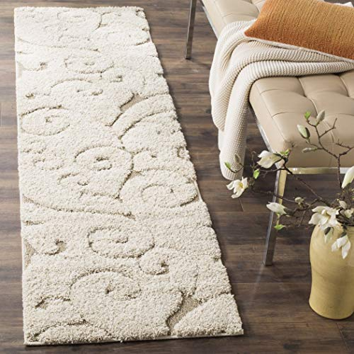 (1pc Off White Cream Beige Shag Scrollwork Runner Rug, Pretty Floral Long Carpet, Motif Scrolling Vine Accents Pattern Entraceway Hallway Flooring, Stain Resistant 2'3 Ft X 8 Ft, Polypropylene)