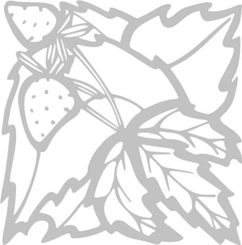 WANDTATTOO / Wandaufkleber - e54 fruchtige Erdbeeren Blätterwerk Blatt Blüte Blumen Pflanzen Ranke 120x118 cm - glasdekor