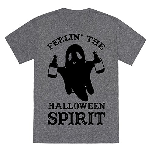 LookHUMAN Feelin' The Halloween Spirit Heathered Gray Medium Mens/Unisex Fitted Triblend Tee