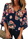 BLENCOT Womens Cute Floral V Neck Mesh Panel 3/4 Bell Sleeve Shirts Fall Fashion Loose Blouses Tops Red S