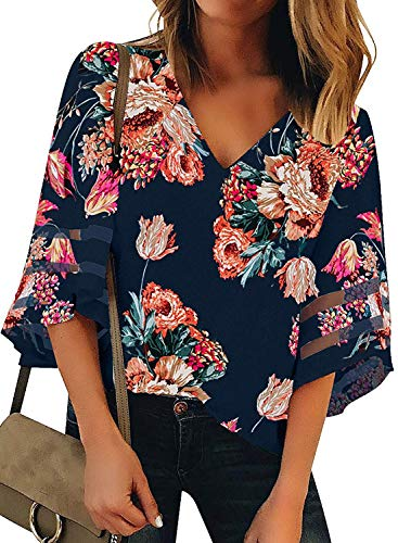 BLENCOT Womens Cute Floral V Neck Mesh Panel 3/4 Bell Sleeve Shirts Fall Fashion Loose Blouses Tops Red XXL