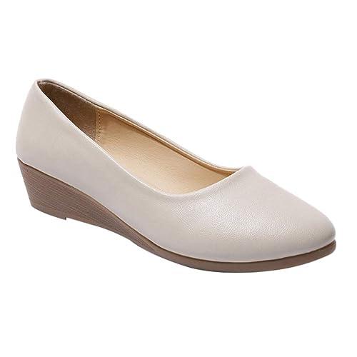 uirend Zapatos para Mujer Mocasines - Mujeres Tacón de cuña Plataforma Punta Redonda Confortable Suave Cuero