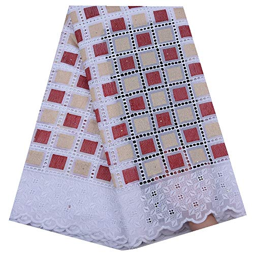 Zhangooqi African Dry Lace Fabric Swiss Voile Lace in Switzerland Punch Holes Cotton Nigerian Daily Dress Sewing (Color : Light RED, Size : 5 Yards) (High Quality Swiss Voile Lace From Switzerland)