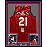 Framed Autographed Signed Joel Embiid 33x42 Philadelphia Red Basketball  Jersey JSA COA 40fb41e85