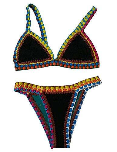 BYD Mujeres Bikinis Conjuntos Push Up Croché Bañador Coloridos Ropa de baño Neopreno 2pcs Tops + Shorts Negro