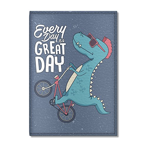 Cute Passport Cover for women and men, by Govinda Crafts, Eco Leather Passport Holder (Dinosaur On A Bicycle)