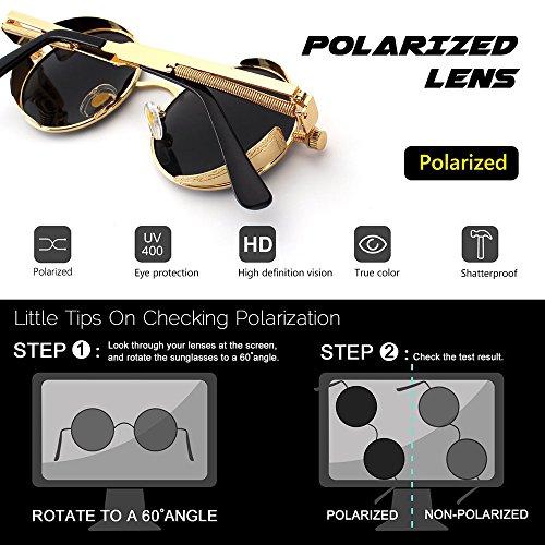 polarisées UV400 lunettes Lunettes soleil lunettes Huateng Bronze Rouge de rondes steampunk rétro personnelles Btpwfx