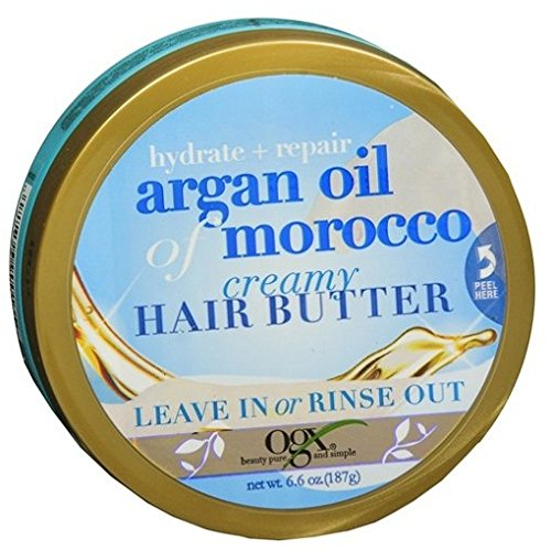 Ogx Argan Oil Of Morocco Creamy Hair Butter 6.6 Ounce Jar (195ml) (3 Pack) by (OGX) Organix