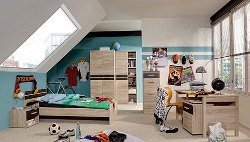Jugendzimmer 6-tlg. in Eiche sägerau-Nachb. mit Abs. in Lava, 2-trg. Schrank, Regalschrank, Bett 140x200 cm, Nachtschrank, Schreibtisch, Rollcontainer