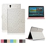 Samsung Galaxy Tab S 8.4 inch Case,Dingrich Slim Folding Cover Case With Auto Sleep/Wake Feature-PU Leather Protective Cover for Tab S 8.4 inch (SM T700 T705) +Stylus Pen+Screen Protector(White)