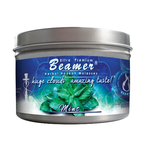 Mint Beamer® Ultra Premium Hookah Molasses 250 gram tin. Huge Clouds, Amazing Taste!® 100 % Tobacco, Nicotine & Tar Free but more taste than tobacco! Compares to Hookah Tobacco at a fraction of the price! GREAT TASTE, LOTS OF SMOKE & SMELLS GREAT!!! Proudly made in the USA! ()