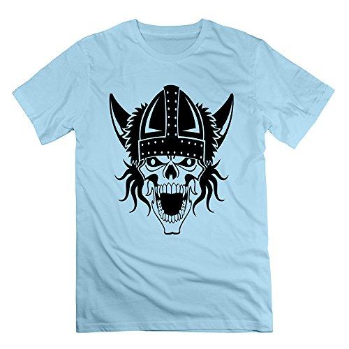 Men's Viking Skull Short-Sleeve T-shirt SkyBlue 3X (50s Makeup And Hair)