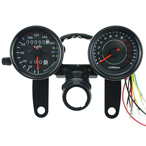 Iztoss 12V Motorcycle scooter black led Odometer Speedometer gauge and 13000RPM Tachometer with Bracket for Yamaha SR XV RX Cafe Racer Suzuki Honda Kawasaki ()