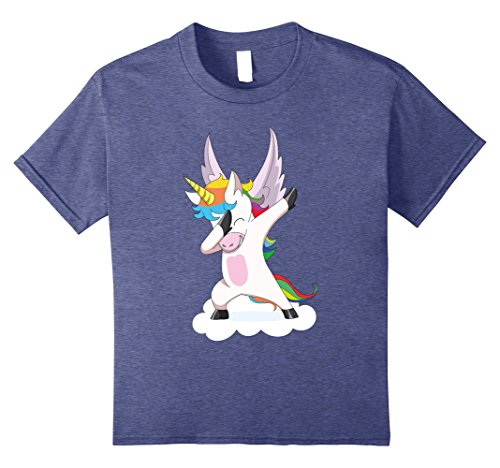 90's Hip Hop Girl Costume (Kids Funny Dabbing Unicorn Halloween T-Shirt Women Girls Costume 8 Heather Blue)
