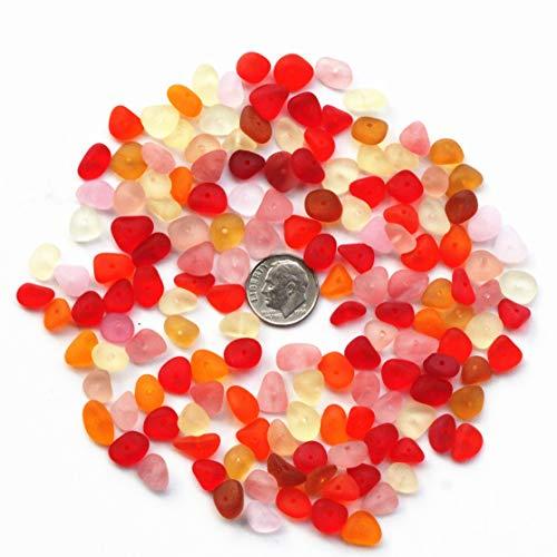 Making Beach Glass Jewelry - Lilyhandmade 30 Piece Red Yellow Pink Orange Center Drilled Sea Glass Beads/Beach Glass Beads with Hole for Jewelry Making (Mini Size / 8-10 mm)
