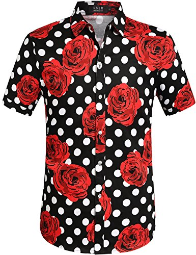 SSLR Men's Polka Dot And Rose Button Down Short Sleeve Casual Shirt (X-Large,Black) (Floral Polka Dot)