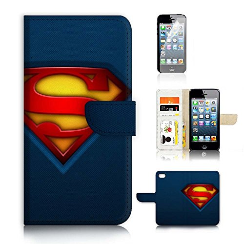 ( For iPhone 5 5S / iPhone SE ) Flip Wallet Case Cover and Screen Protector Bundle A9113 Superman Super Hero