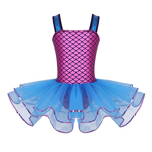 iiniim Girls Sequined Mermaid Scales Ballet Tutu Dress Princess Party Dance Halloween Costumes Fuchsia Blue 3T