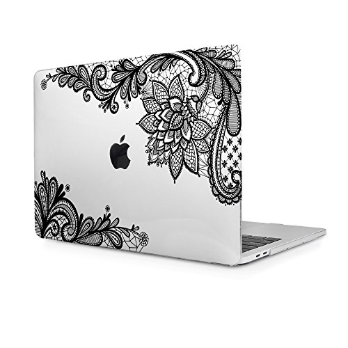 Batianda MacBook Pro 13 2016 Case,Black Lace Design Crystal Clear Hard Cover for MacBook Pro 13 inch with/without Touch Bar Model:A1706 & A1708 (NEWEST Release October 2016) (Laptop Carrying Case Design)