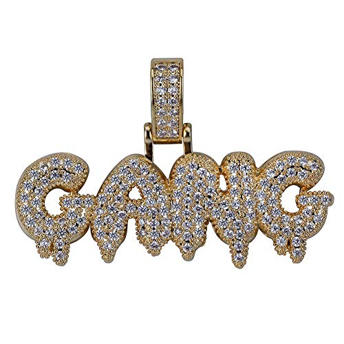HECHUANG Micropave Simulated Diamond Iced Out Custom Bubble Letters Gang  Dripping Initial Pendant with Rope Chain a5e663e1c449