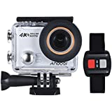 4K Action Camera, Andoer AN100 WIFI Sports Action Video Camera 30MP 1080P/120fps 2.0 IPS Screen 170° Wide Angle Waterproof 45m cam with Remote Control Support Gyro G-sensor FPV External Mic (Silver)