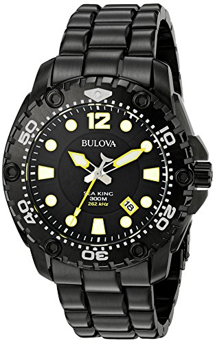 Bulova Men's 98B242 Sea King Analog Display Japanese Quartz Black Watch