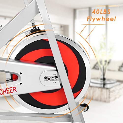 ANCHEER Stationary Bike, Indoor Cycling Exercise Bike 40 LBS Flywheel (Sliver_NO Pulse) by ANCHEER (Image #2)