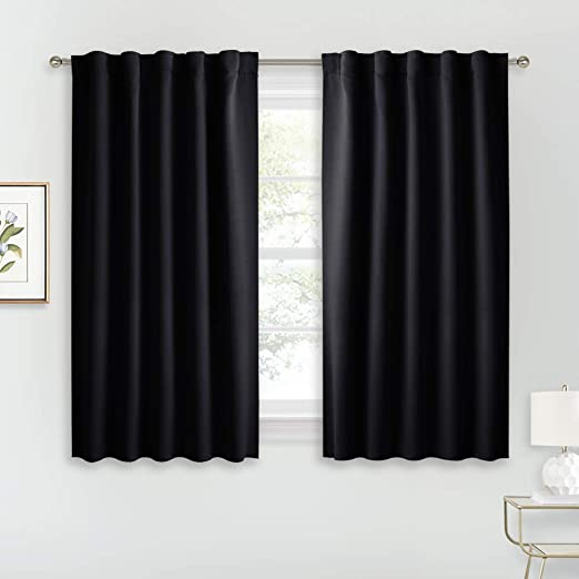 RYB HOME Bedroom Blackout Curtains - Small Window Treatment Set Energy  Saving Thermal Insulated Drapes for Living Room/Nursery/Kitchen, 42-inch  Wide x ...