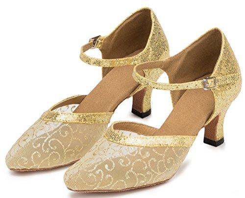 Abby Yfyc-l132 Womens Fashion Komfort Latin Tango Balsal Mid Häl Professionell Mesh Dansskor Gul