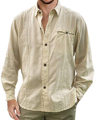 (Mens Guayabera Shirt Cuban Linen Long Sleeve Button Down Shirts Collared Tees Beach Plain Tops Beige)