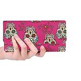 Unique Custom Hand Drawn Day Of The Dead Colorful Sugar Skull Wi Women Trifold Wallet Long Purse Credit Card Holder Case Handbag