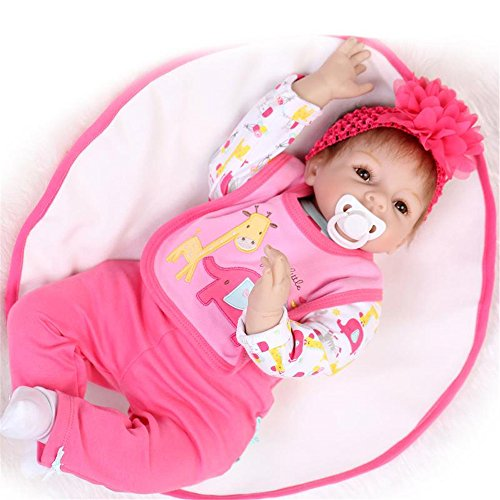 [Reborn Baby Doll Soft Silicone Hot Pink Bib 22-Inch Fan Moon] (Cabbage Head Costume)