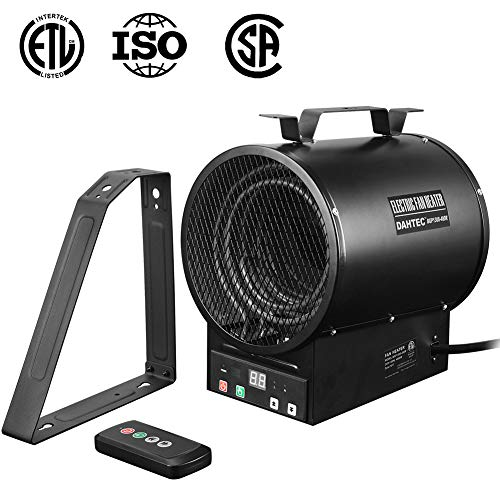 Stainless Steel Electric Hanging Heater - DAHTEC 240V Thermostat Heater Hanging Wall Electric Forced Air Heater with Mounting Bracket and Remote Control 4800W, 17000BTU