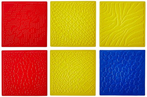 ROYLCO R5817 7 by 7-Inch Animal Skins Rubbing Plates, 6-Pack - Fiskars Embossing Plates